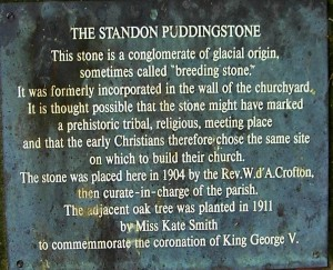 The plaque by the Standon Puddingstone